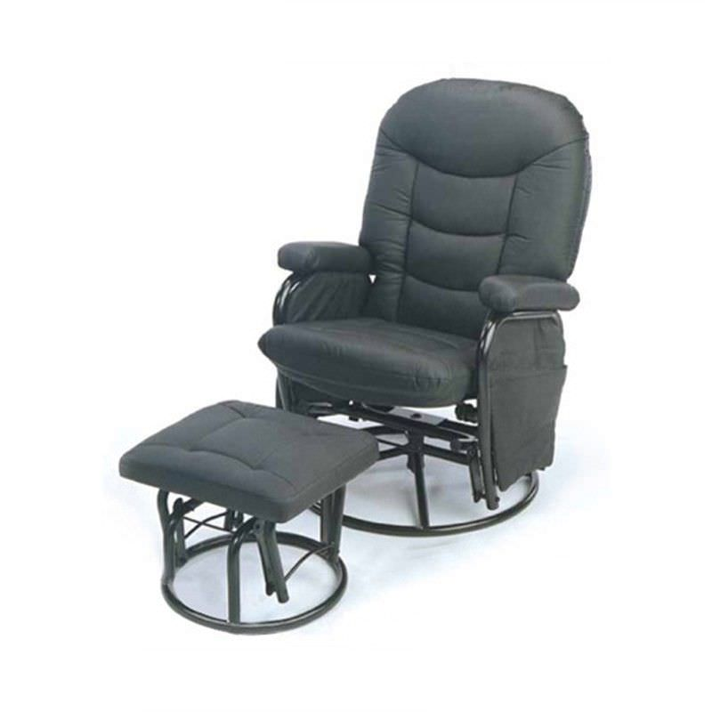 CARSON Rocker Chair With Footstool in Black