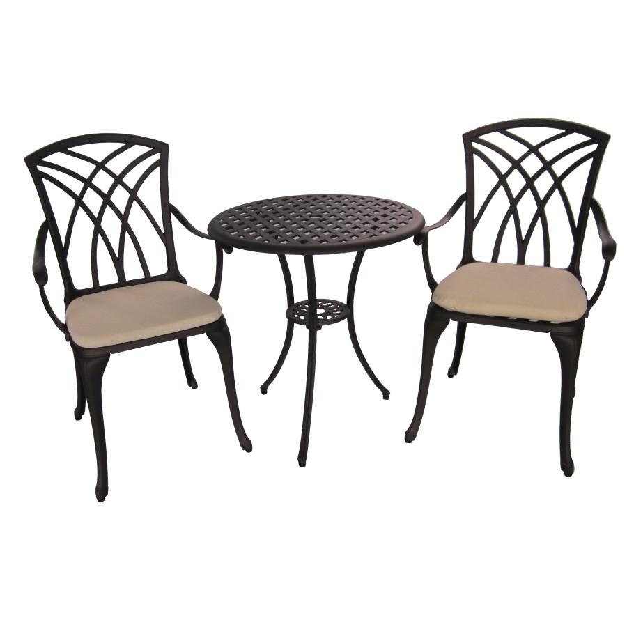Mauritiu 3 Piece Cast Aluminium Round Garden Table Set, Bronze