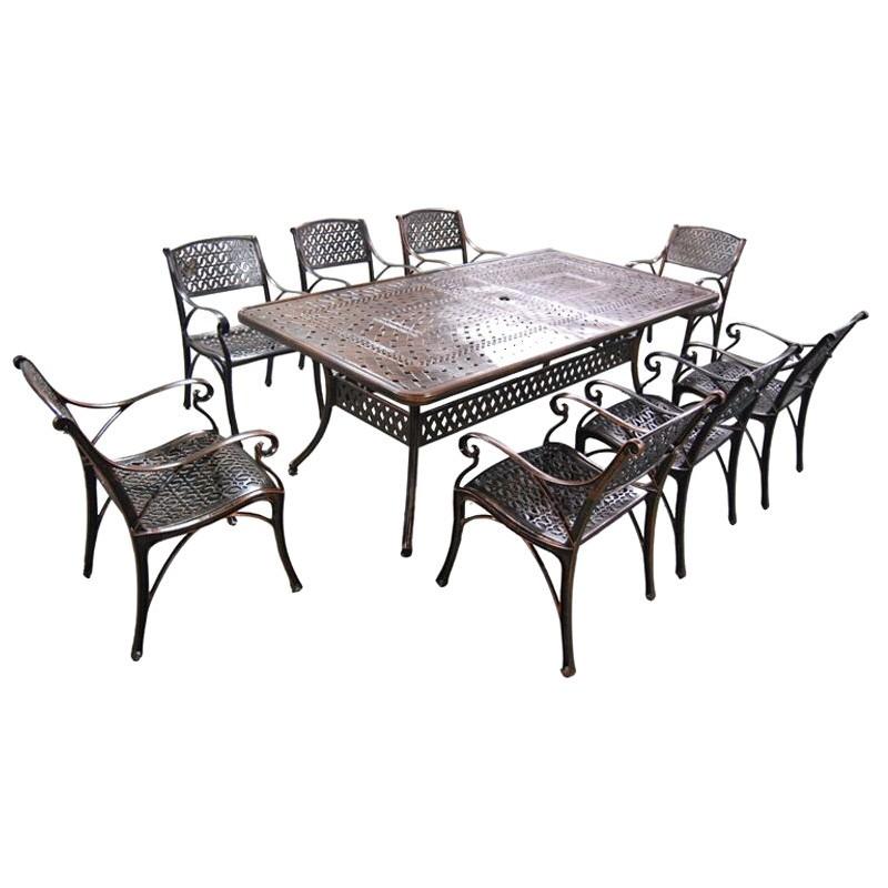 Carly 9 Piece Cast Aluminium Outdoor Dining Table Set, 216cm