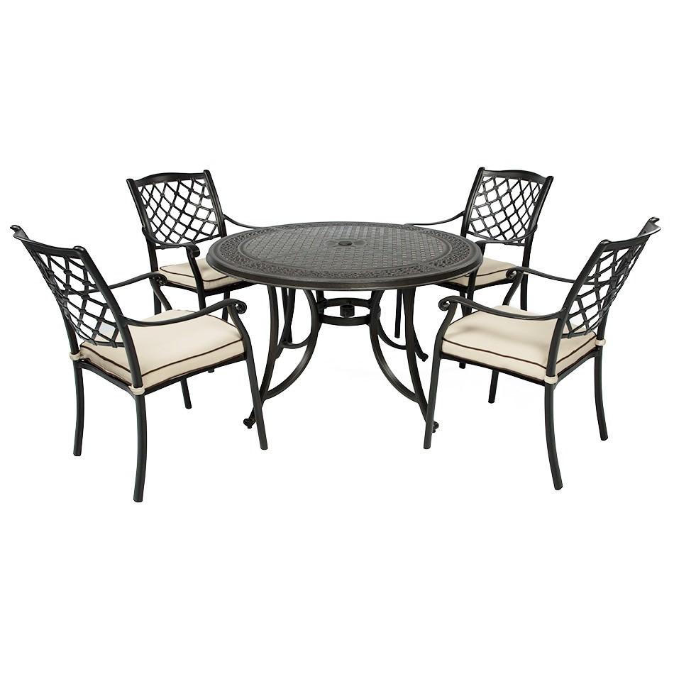 Fiji 5 Piece Cast Aluminium Outdoor Round Dining Table Set, 120cm