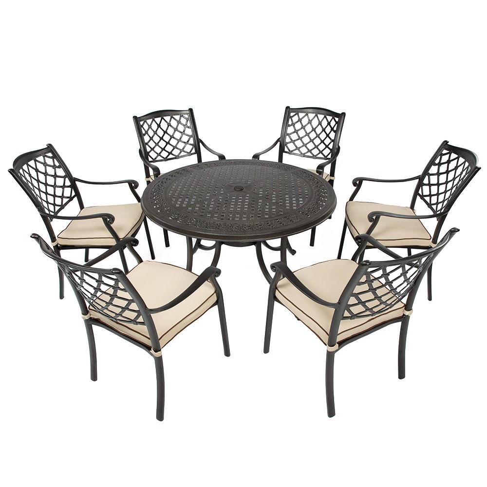 Fiji 7 Piece Cast Aluminium Outdoor Round Dining Table Set, 120cm