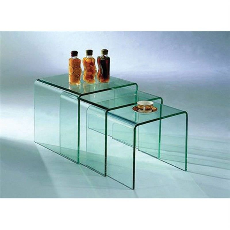 Bent Glass Nest Of Tables in Clear Glass