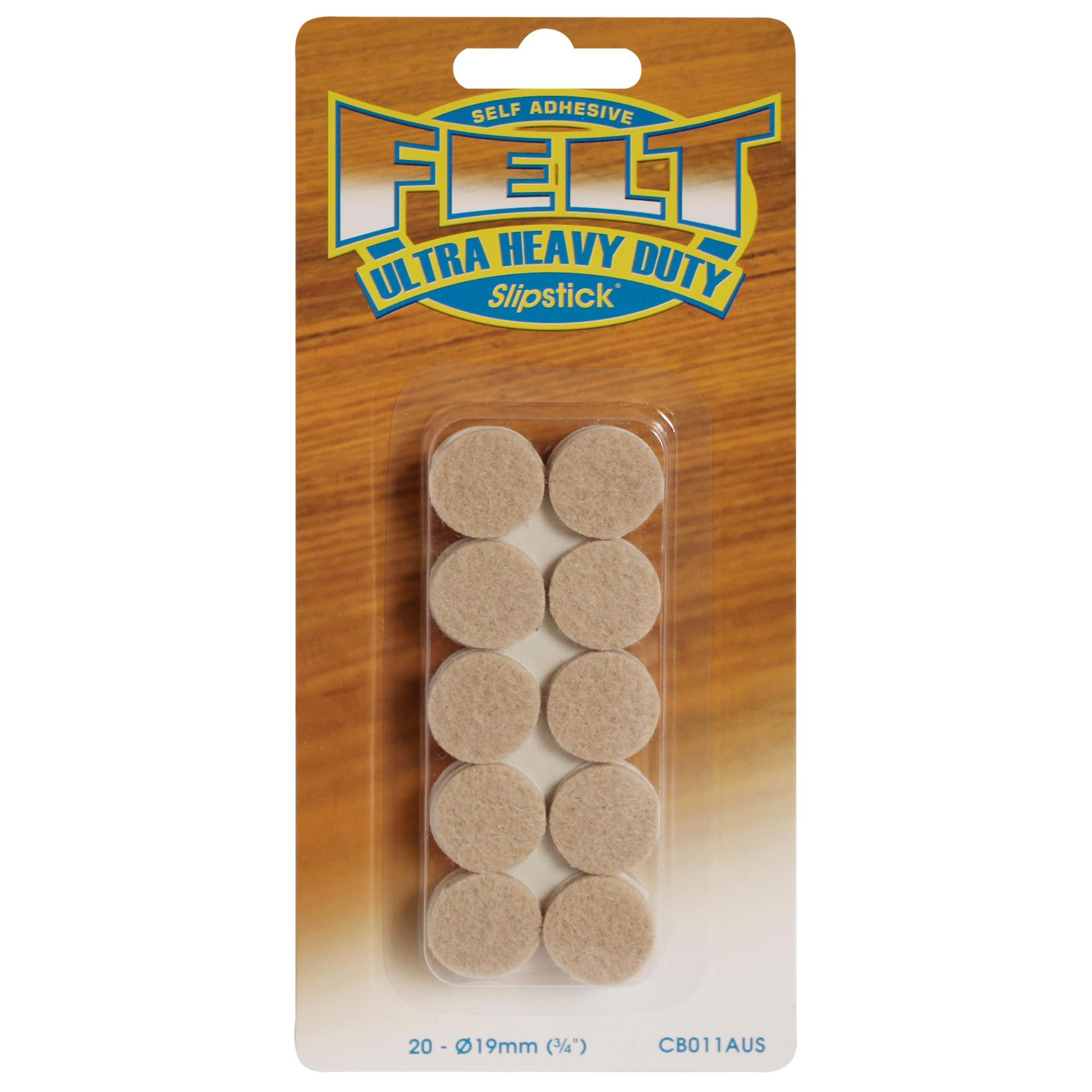 Slipstick Heavy Duty Felt Pads, 1.9cm, Round, 20 Pack