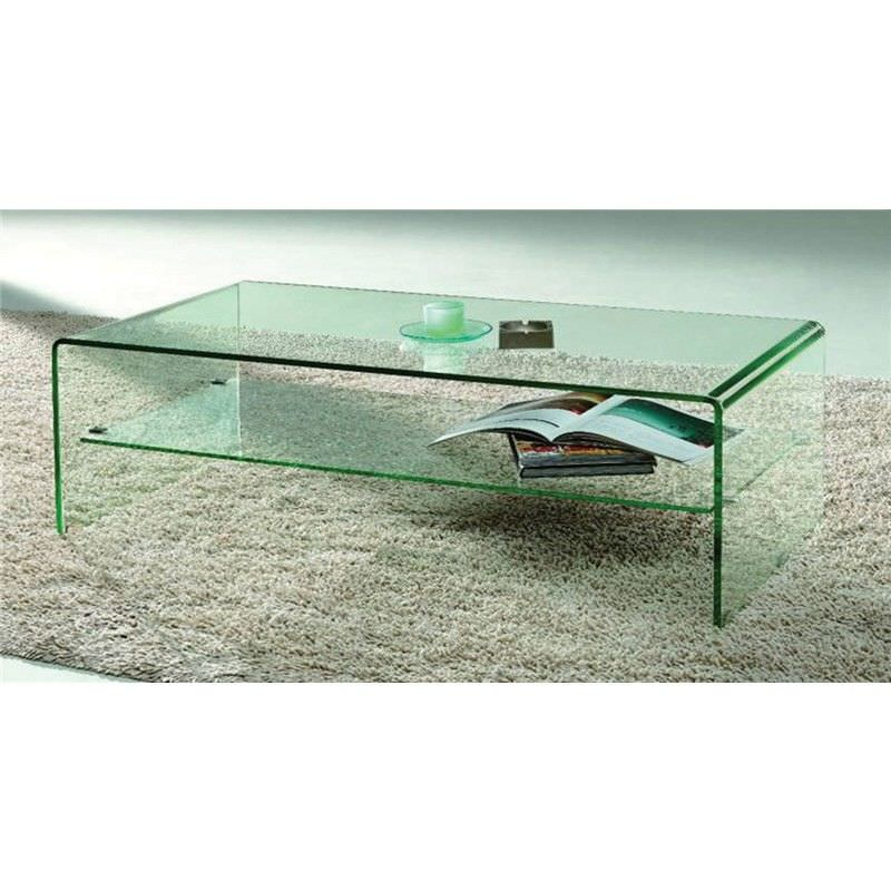 Bent Glass Coffee Table in Clear Glass - 120 x 60 x 43 cm