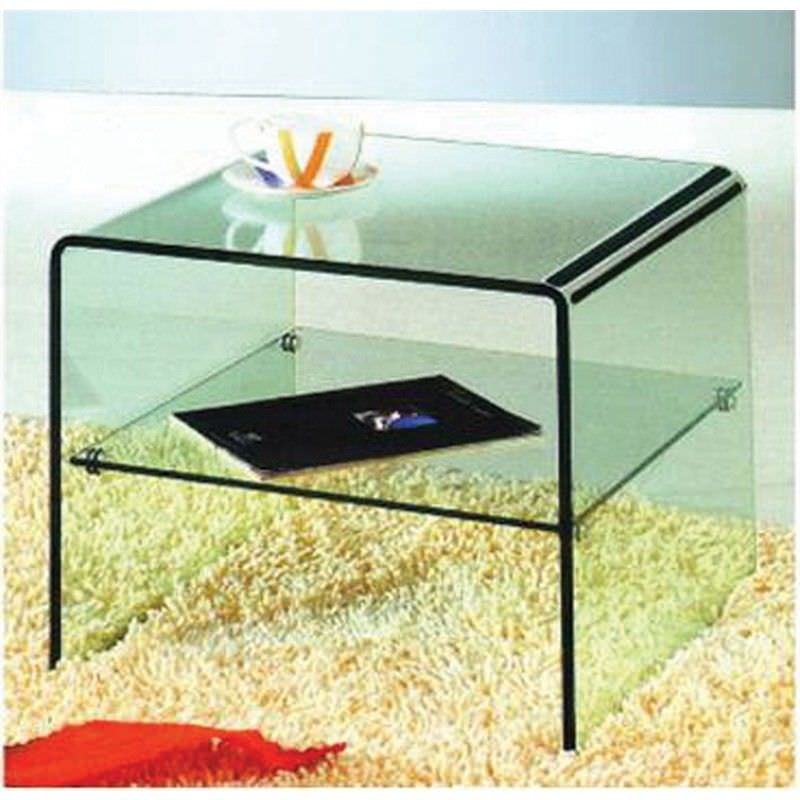 Bent Glass Lamp Table in Clear Glass - 50 x 50 x 45 cm