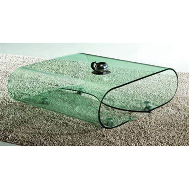 Bent Glass Coffee Table in Clear Glass - 90 x 90 x 38 cm