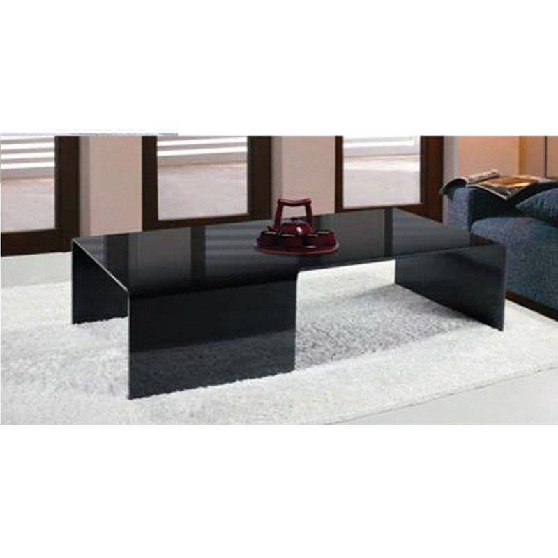 Bent Glass Coffee Table in Black Glass - 130 x 70 x 36 cm