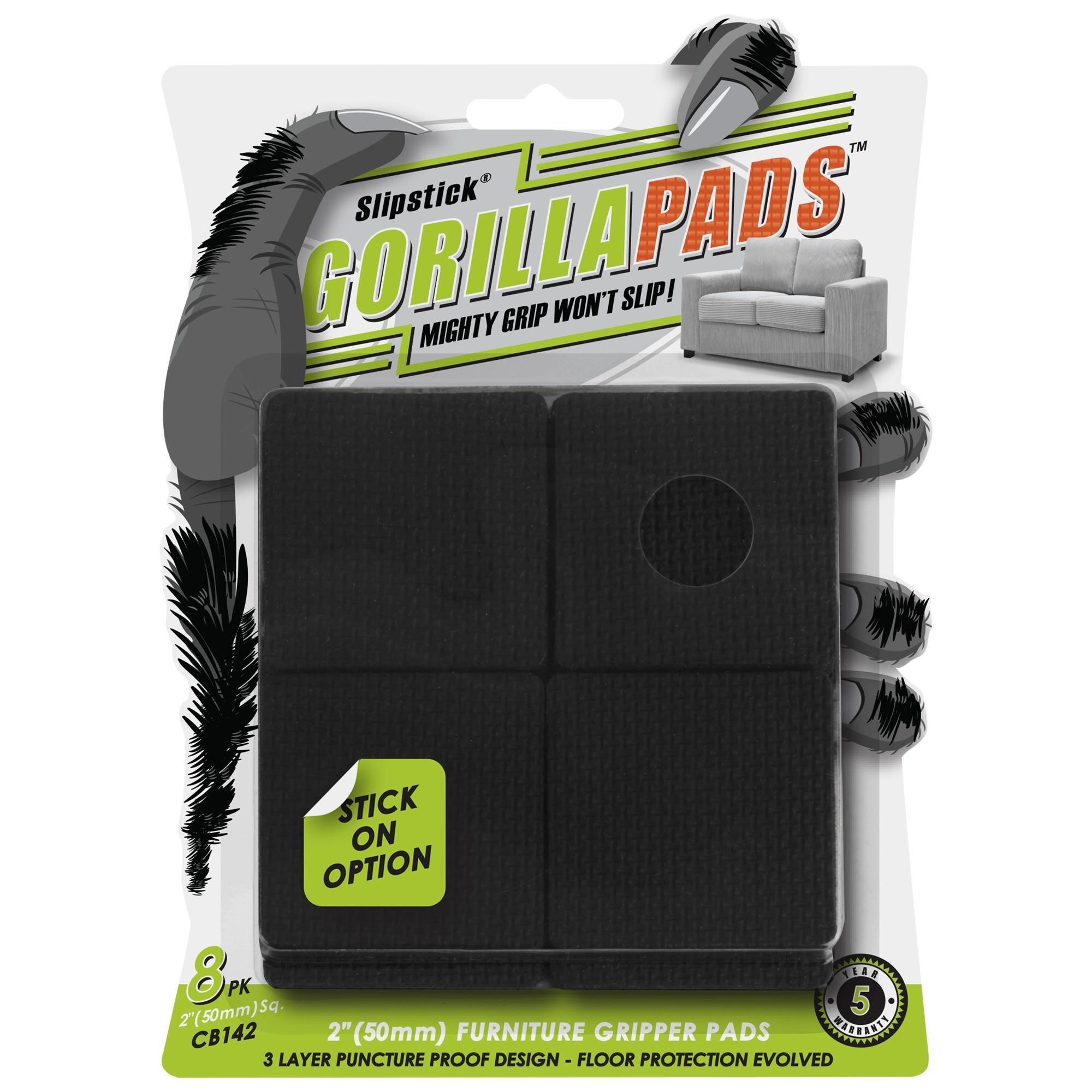 Slipstick Gorilla Furniture Gripper Pads, 5cm, Square, 8 Pack