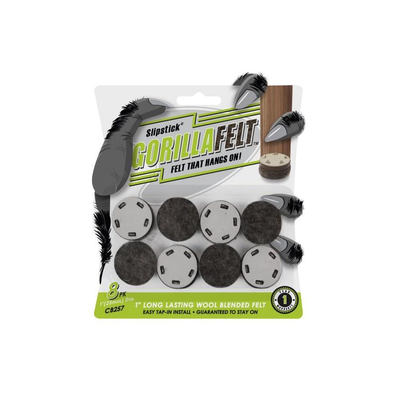 Slipstick Gorilla Felt Tap-In Floor Protection Feet, 2.5cm, 8 Pack