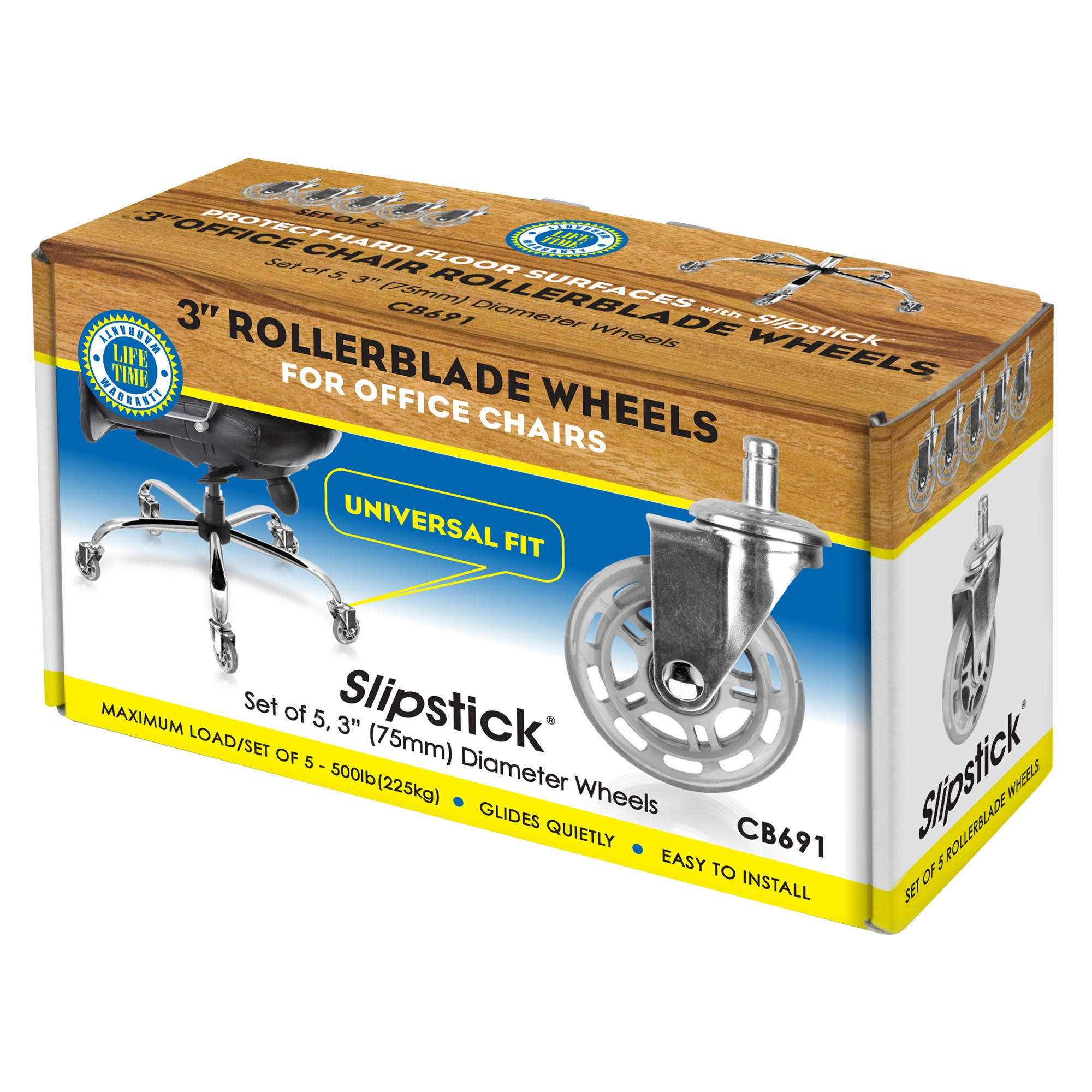 Slipstick Rollerblade Replacement Office Chair Wheels, Set of 5, Chrome