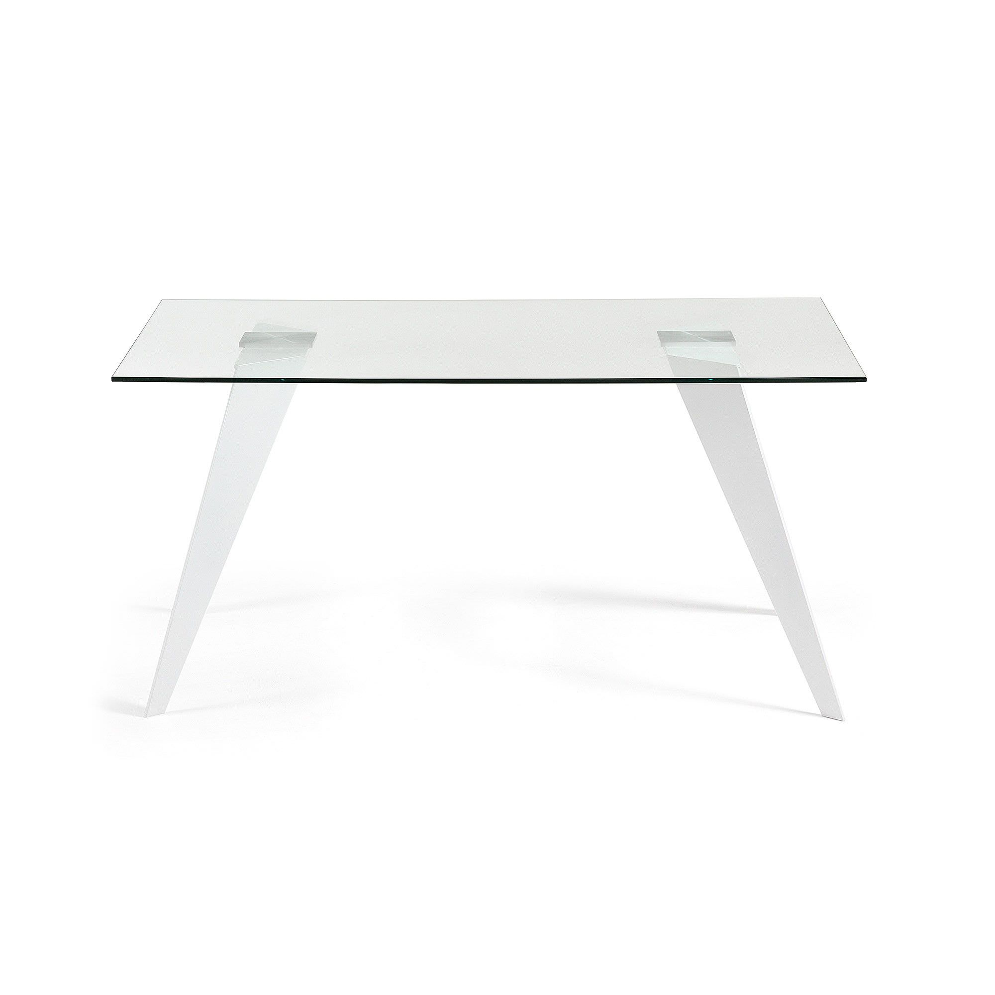 Neville Tempered Glass & Steel Dining Table, 180cm, Clear / White