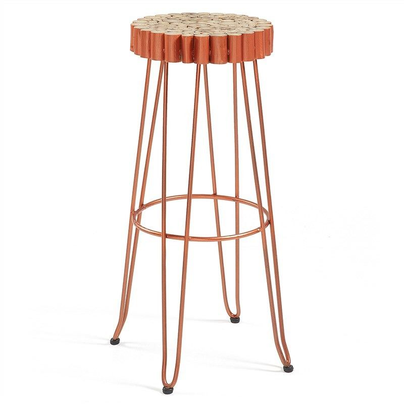 Evans Timber Seat Metal Counter Stool, Copper