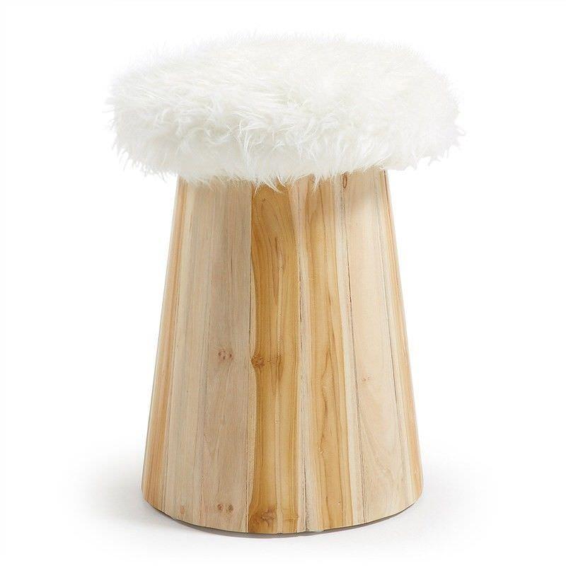 Calca Synthetic Fur & Timber Stool