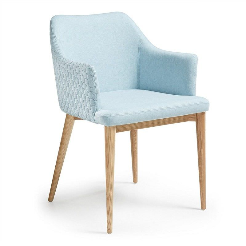 Set of 2 Danya Fabric Quilted Dining Armchair, Light Blue