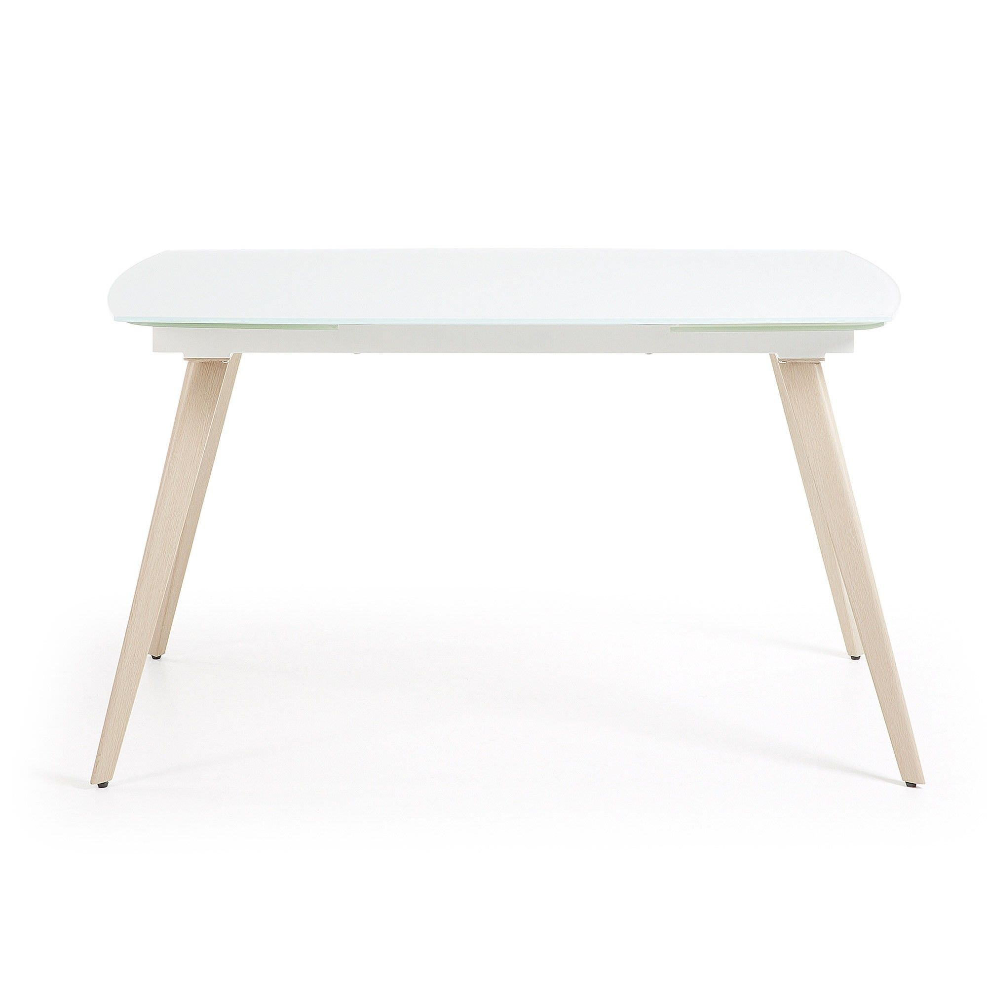 Terra Tempered Glass & Steel Extendable Dining Table, 120-180cm, White / Natural