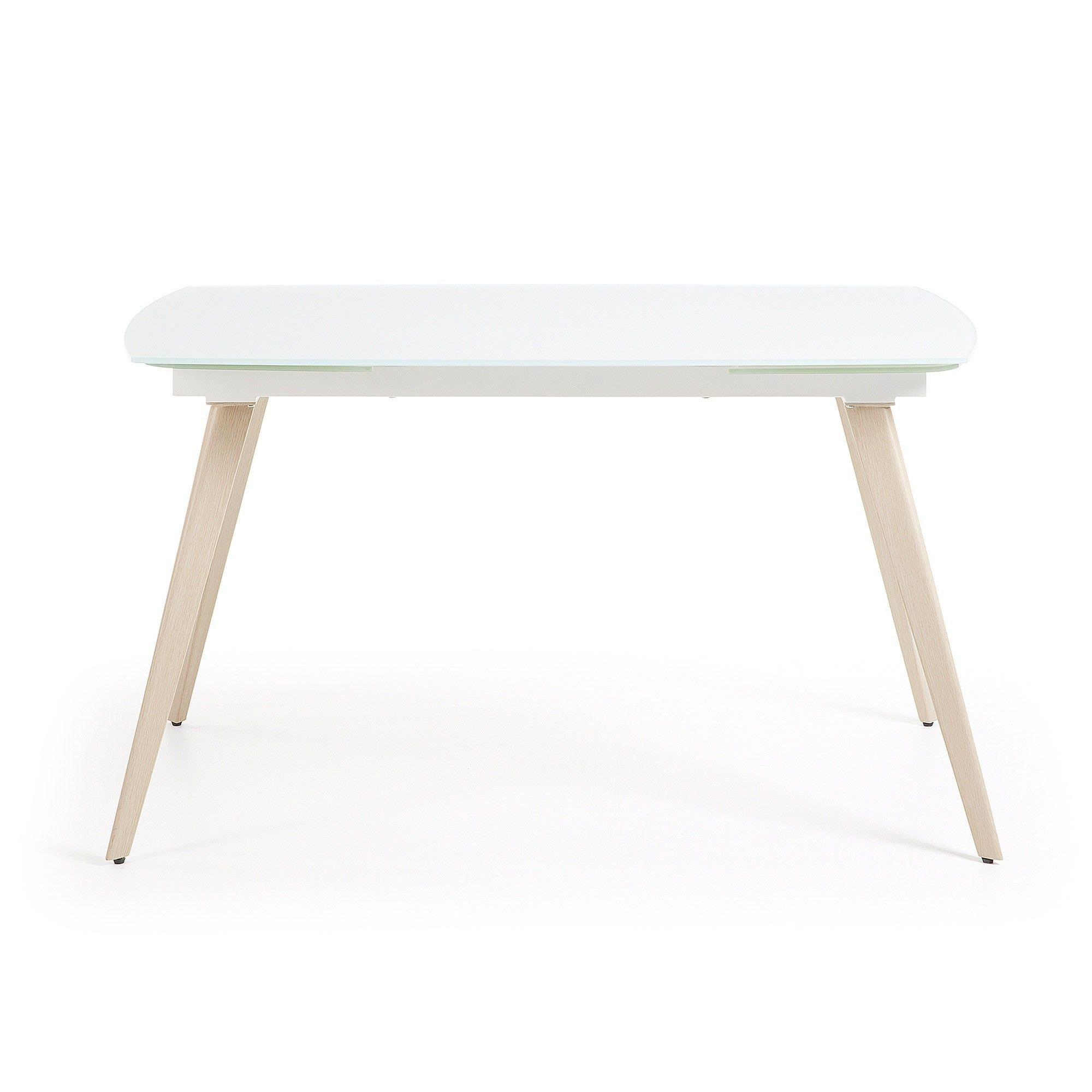 Terra Tempered Glass & Steel Extendable Dining Table, 140-210cm, White / Natural