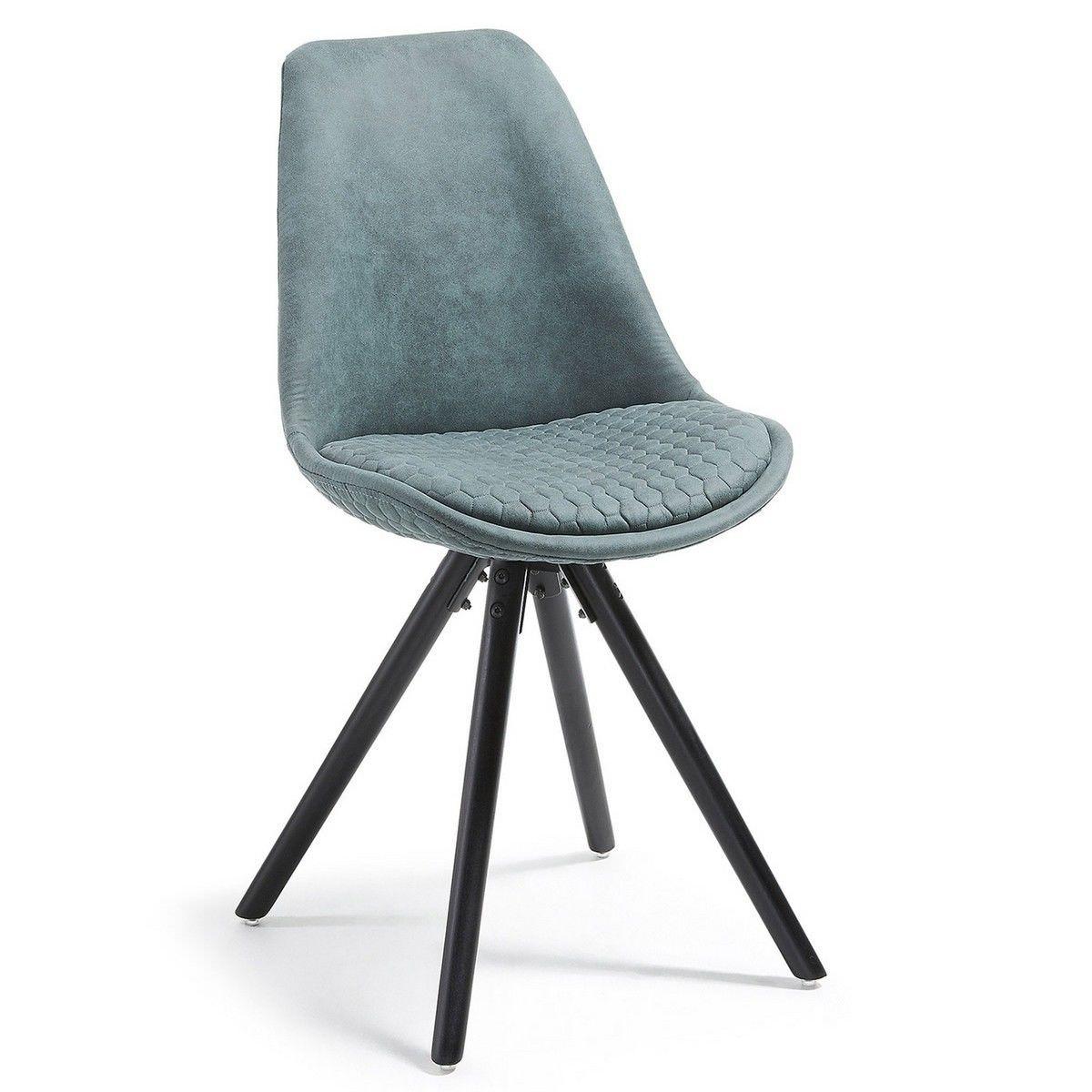 Lakota Fabric Dining Chair, Timber Leg, Teal / Black
