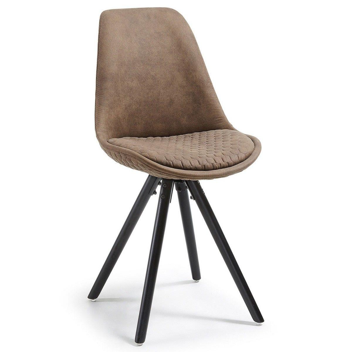 Lakota Fabric Dining Chair, Timber Leg, Tan / Black