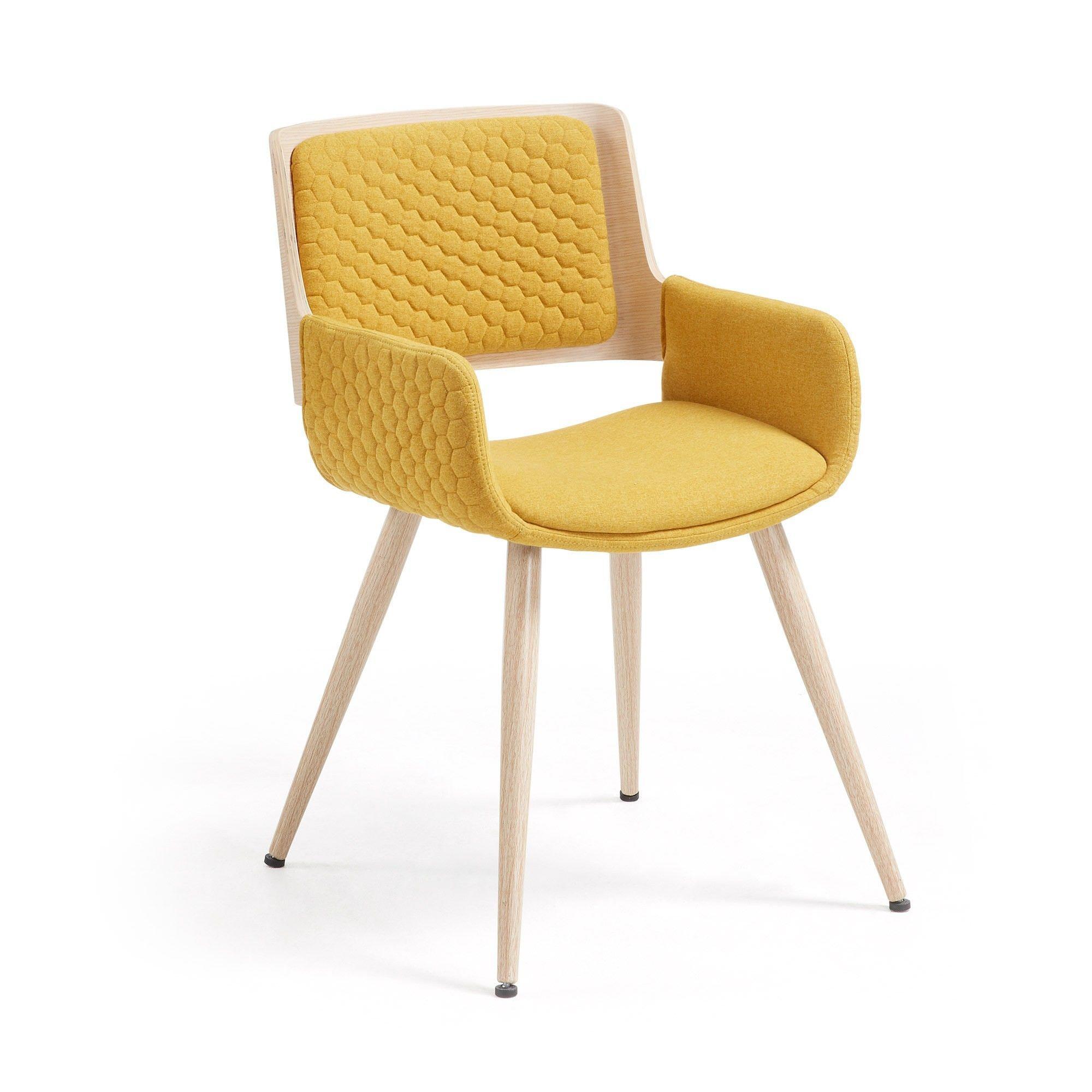 Mora Fabric & Wood Dining Armchair, Mustard