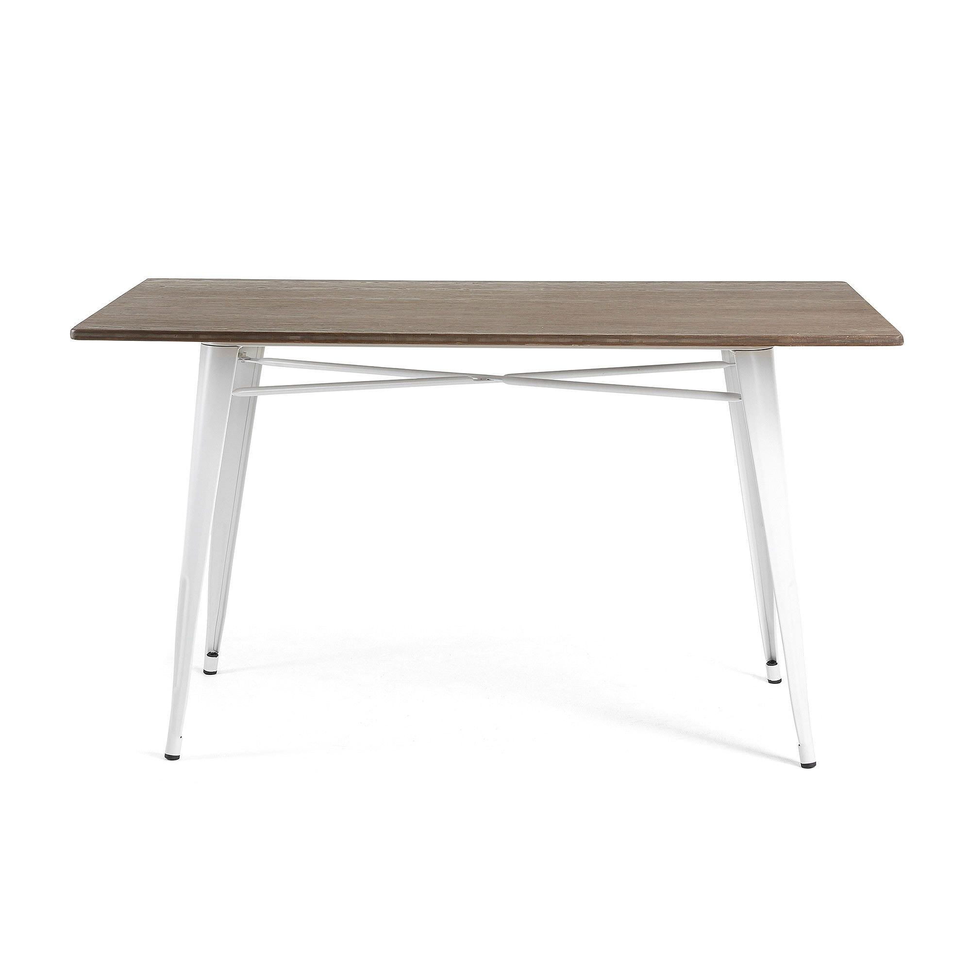 Frazier Steel Indoor/Outdoor Dining Table with Bamboo Top, 150cm, White