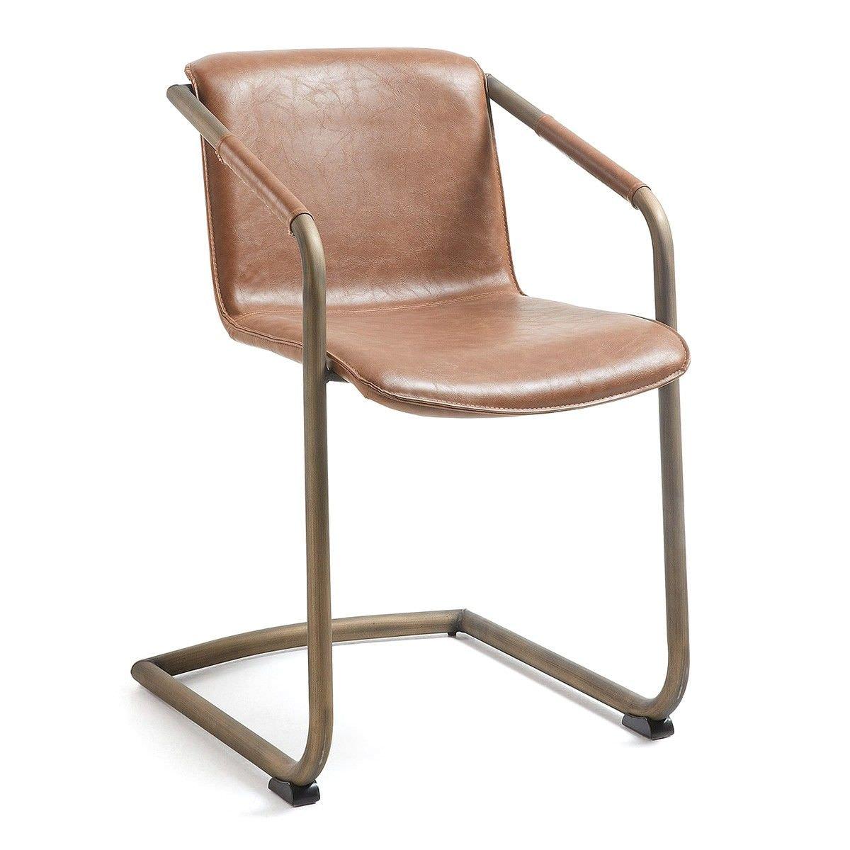 Mooney PU Leather Swing Leg Dining Armchair, Tan