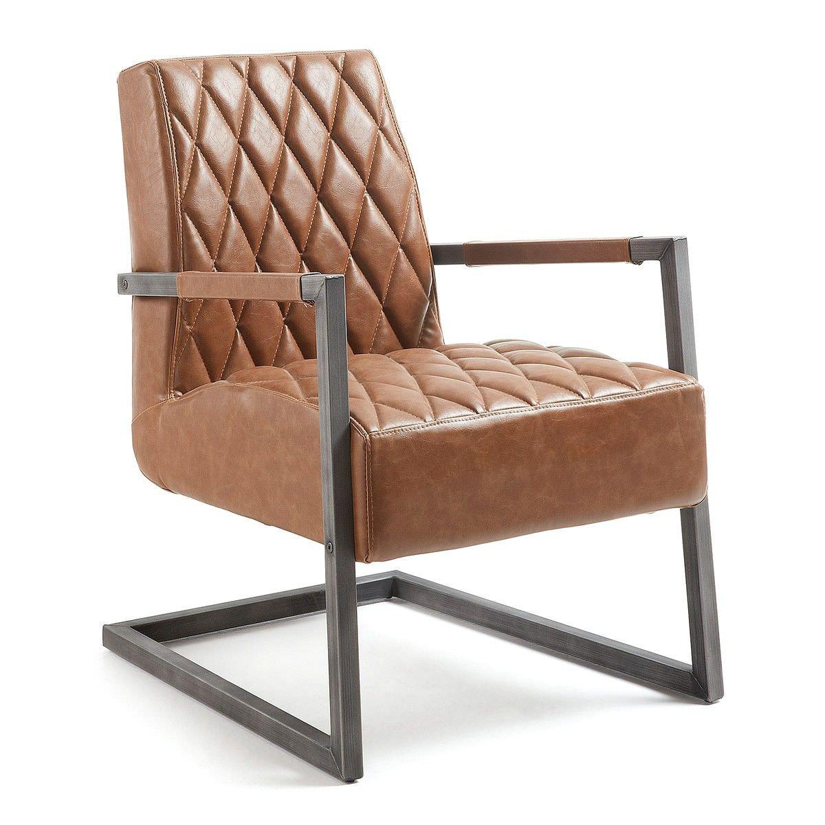 Dillon PU Leather Lounge Armchair, Tan