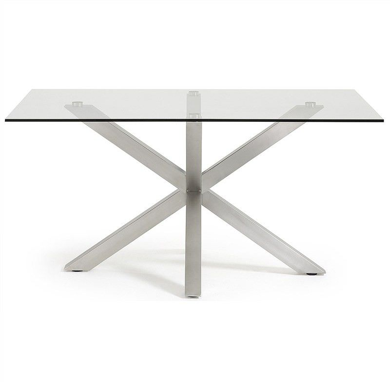 Bromley Tempered Glass And Stainless Steel Dining Table, 150cm, Clear/Silver Part 86