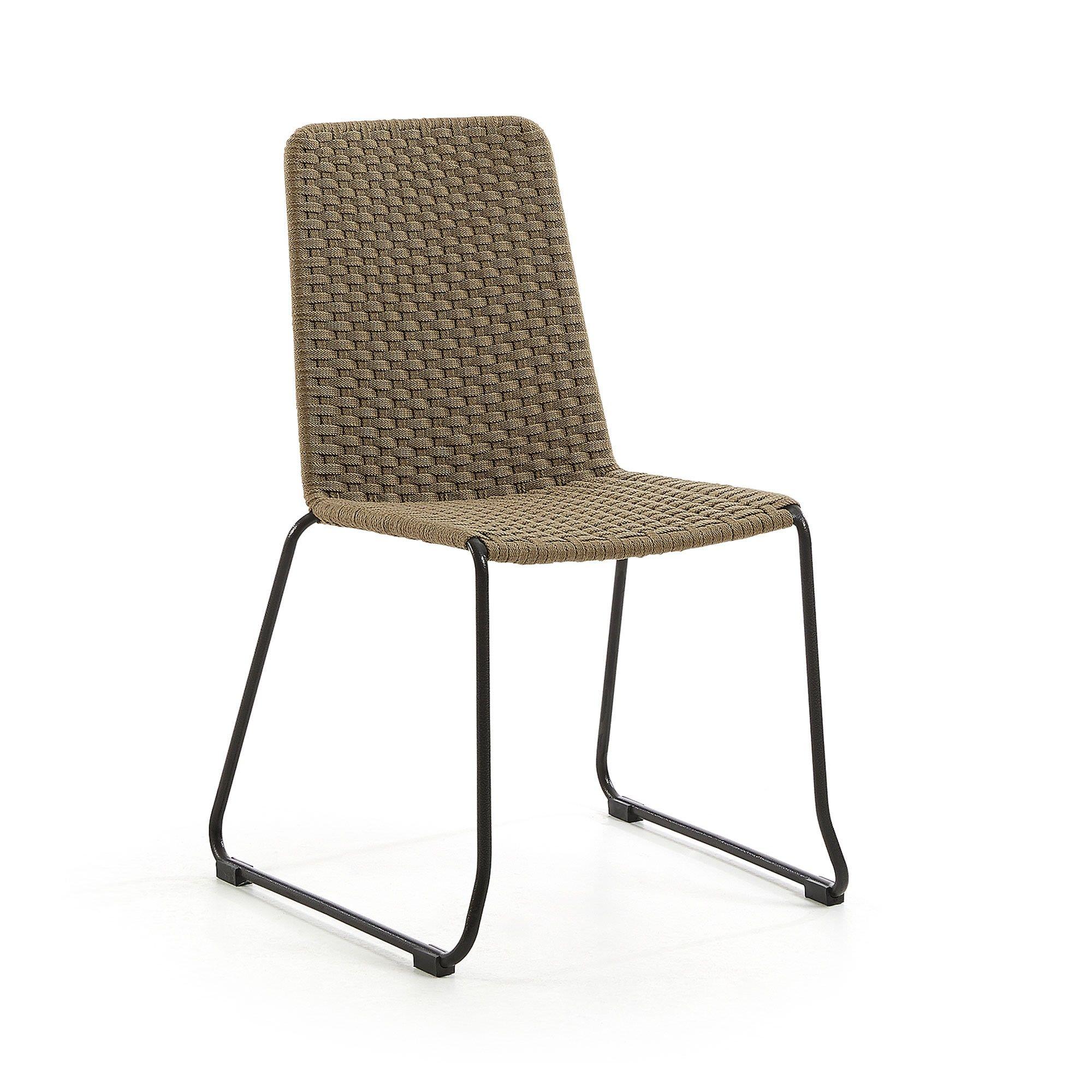Merilyn Rope & Steel Indoor / Outdoor Dining Chair, Beige