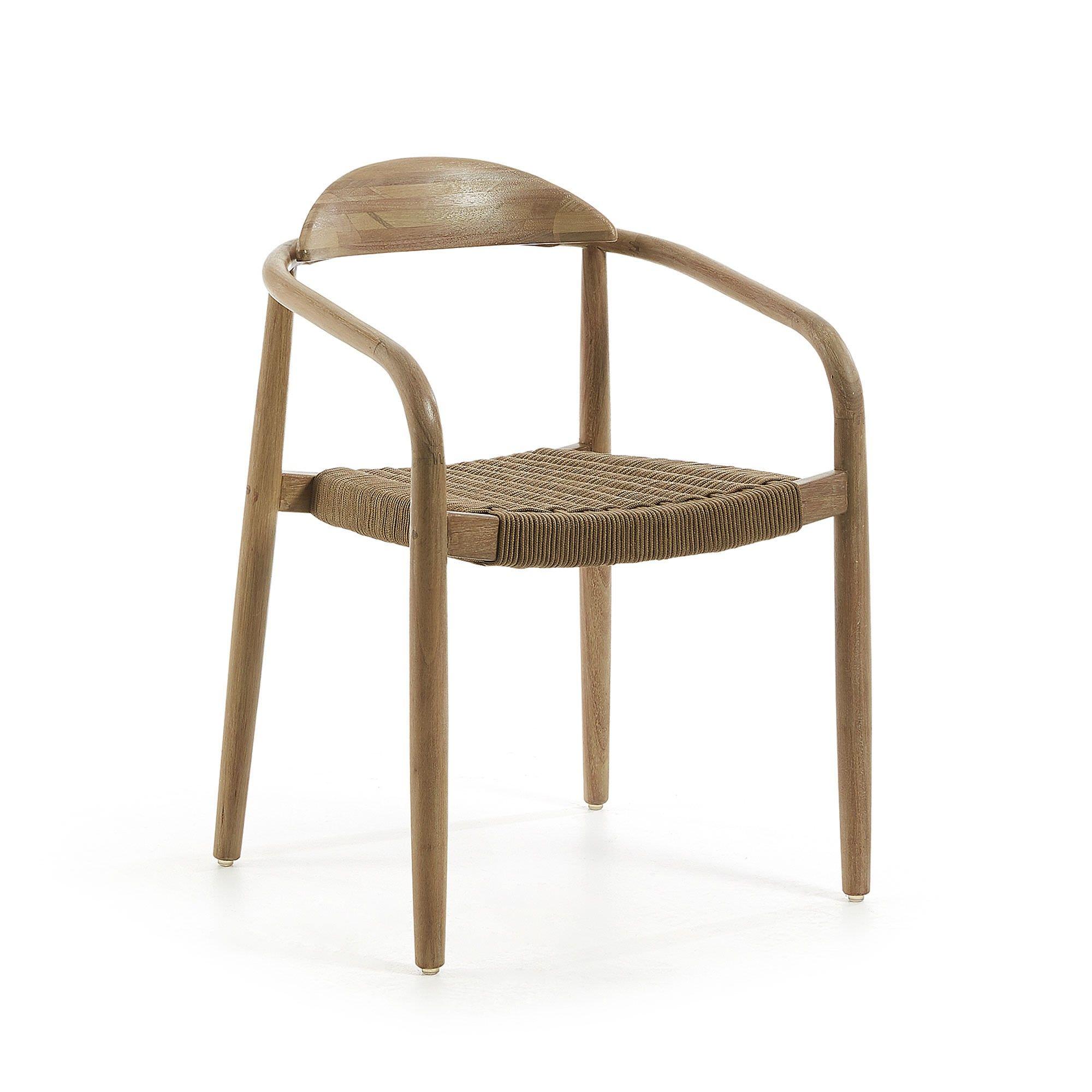 Galton Eucalyptus Timber Indoor / Outdoor Dining Armchair with Rope Seat, Natural / Brown