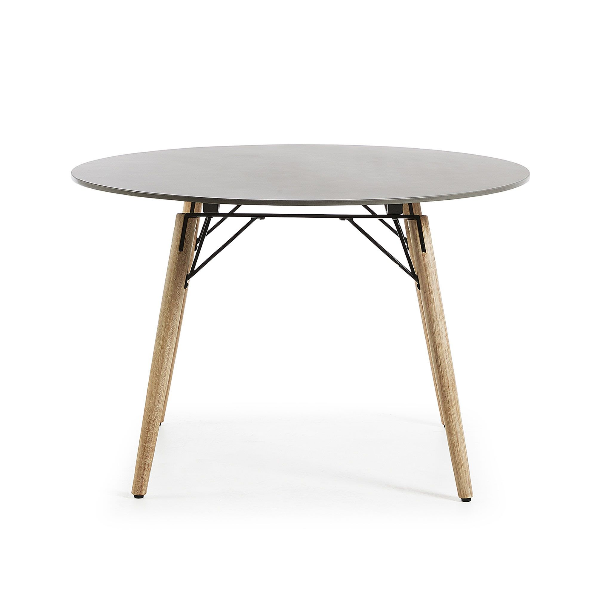 Tatum Polycement Top Eucalyptus Timber Indoor / Outdoor Round Dining Table, 120cm