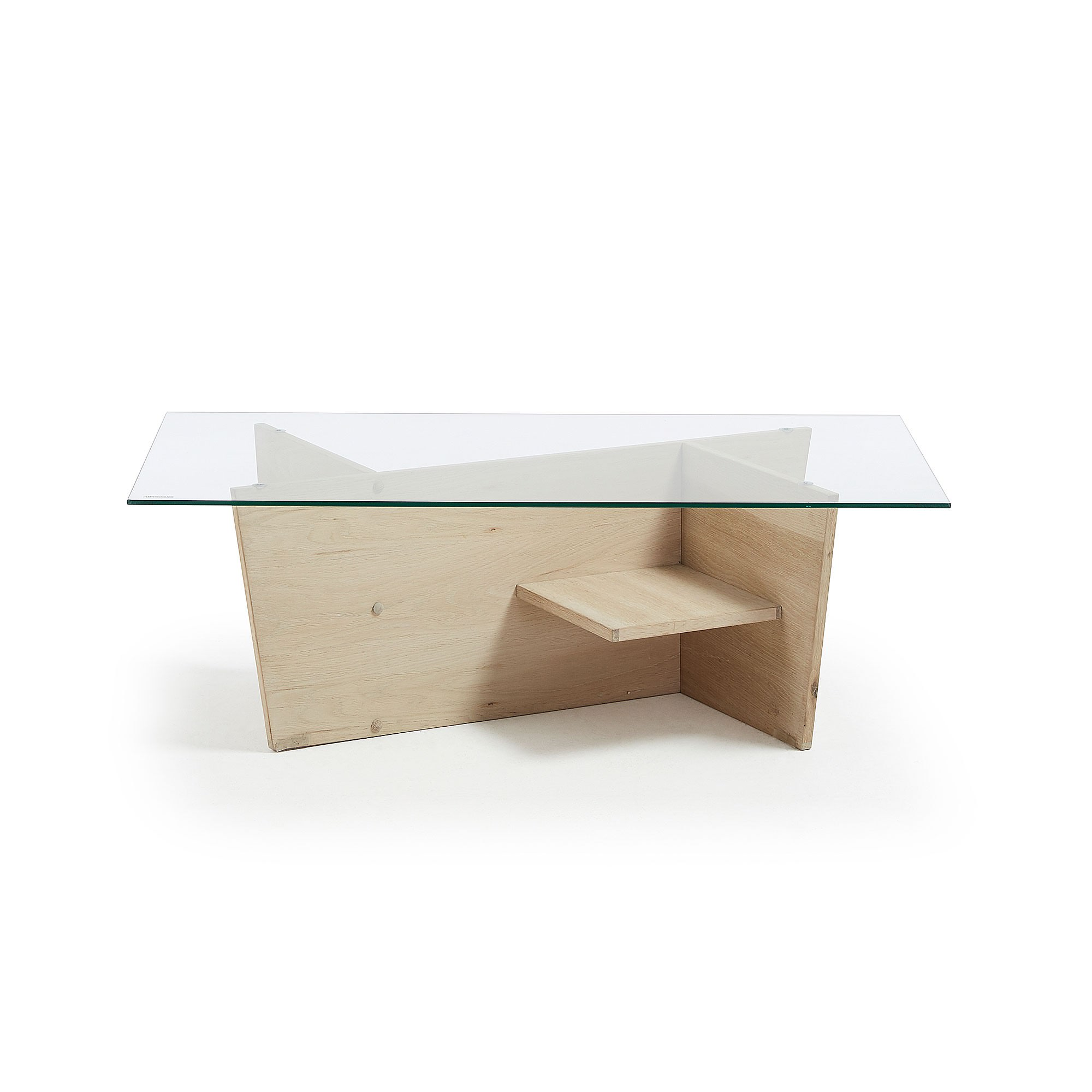Gina Glass Topped Oak Timber Coffe Table, 110cm