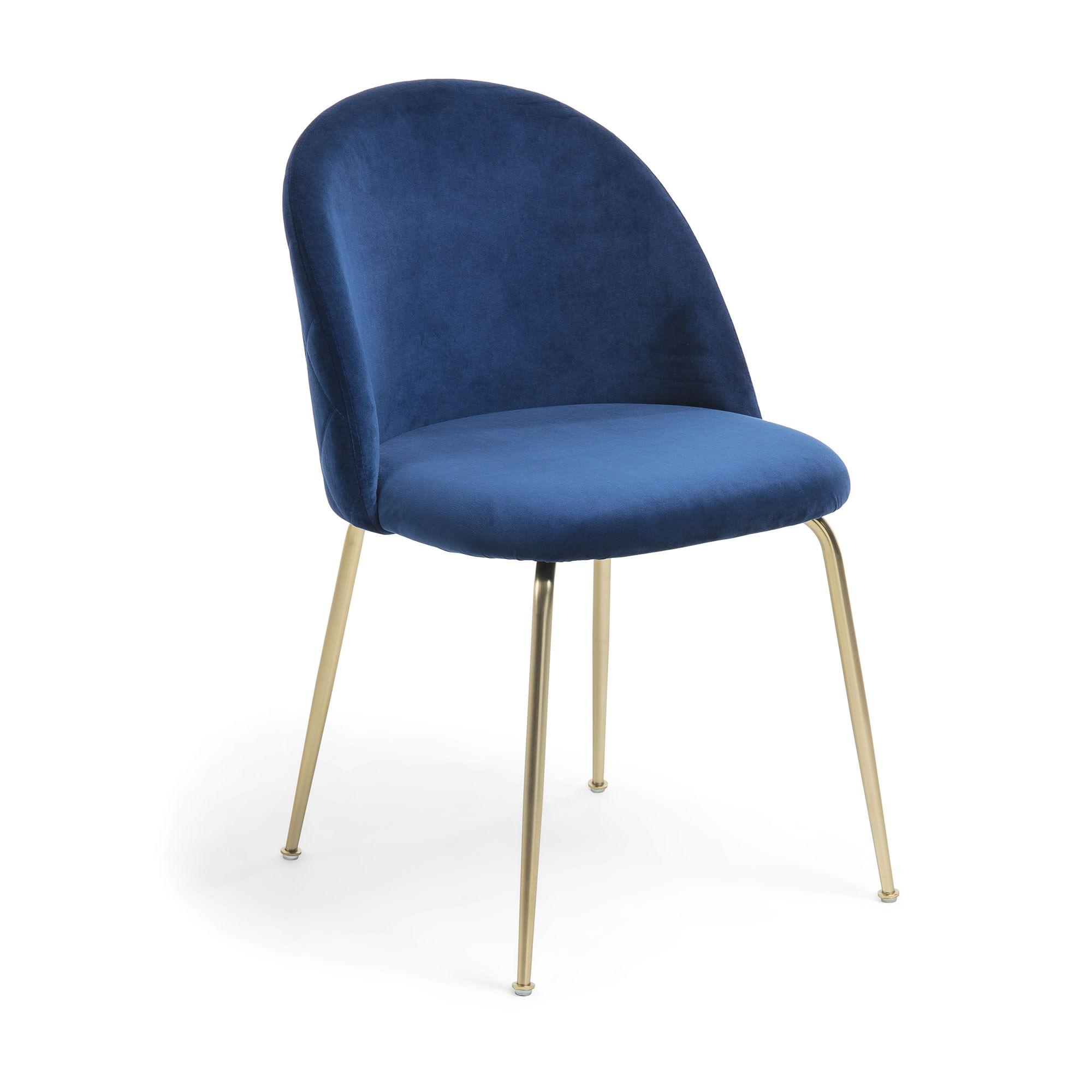 Loftus Velvet Fabric Dining Chair, Navy / Gold