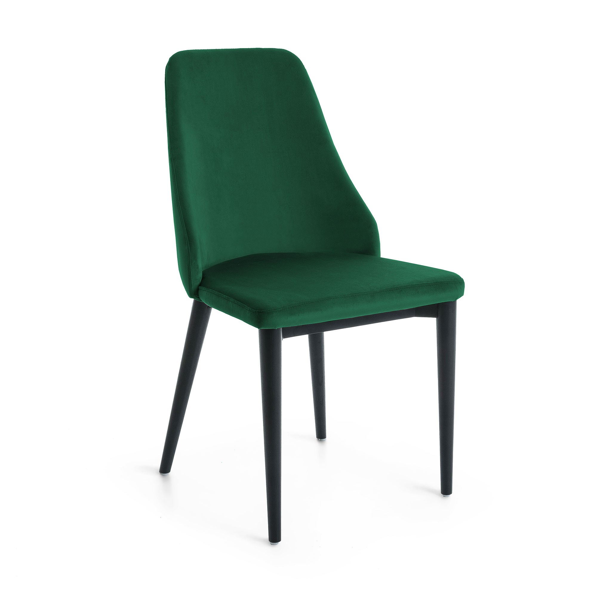 Roxy Velvet Fabric Dining Chair, Green / Black
