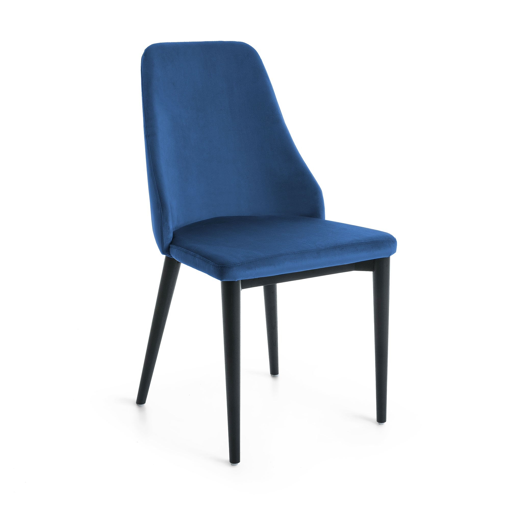 Roxy Velvet Fabric Dining Chair, Blue / Black