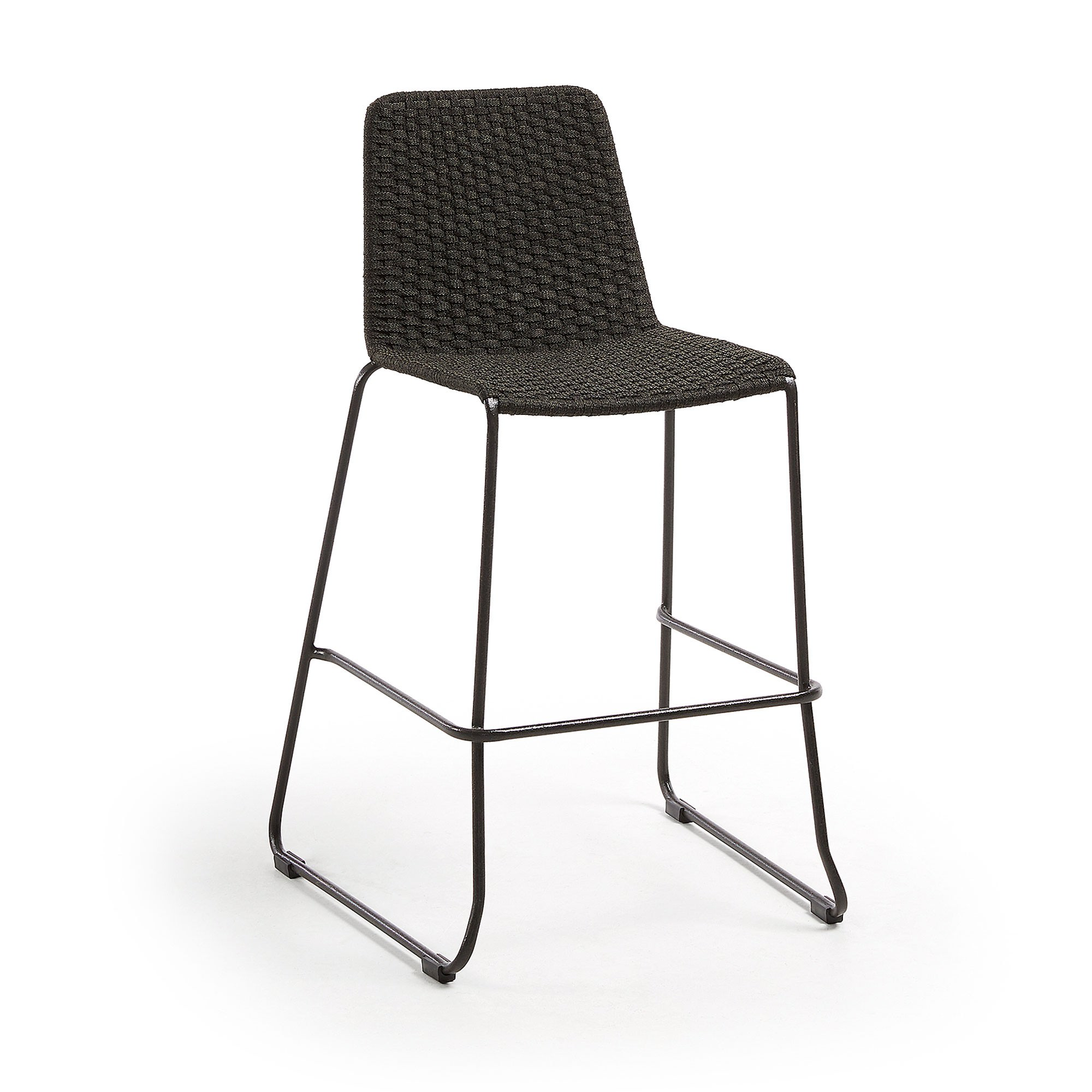 Merilyn Rope & Steel Indoor / Outdoor Bar Stool, Charcoal