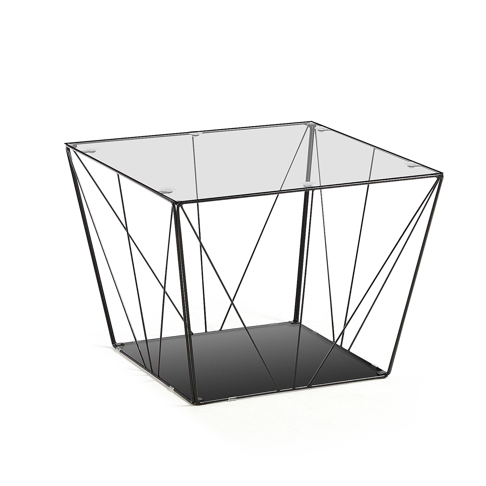 Azur Glass Topped Steel Square Coffee Table, 60cm