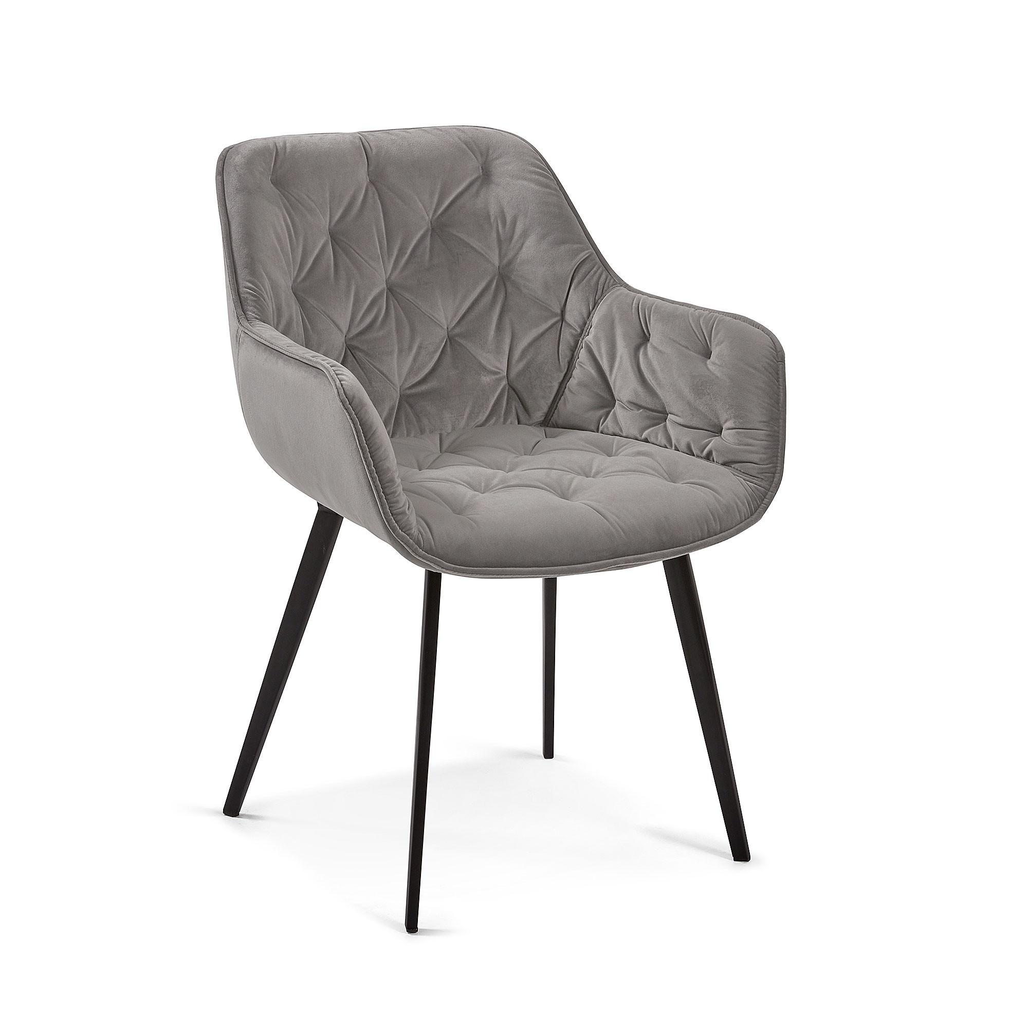 Rollins Velvet Fabric Dining Armchair, Grey