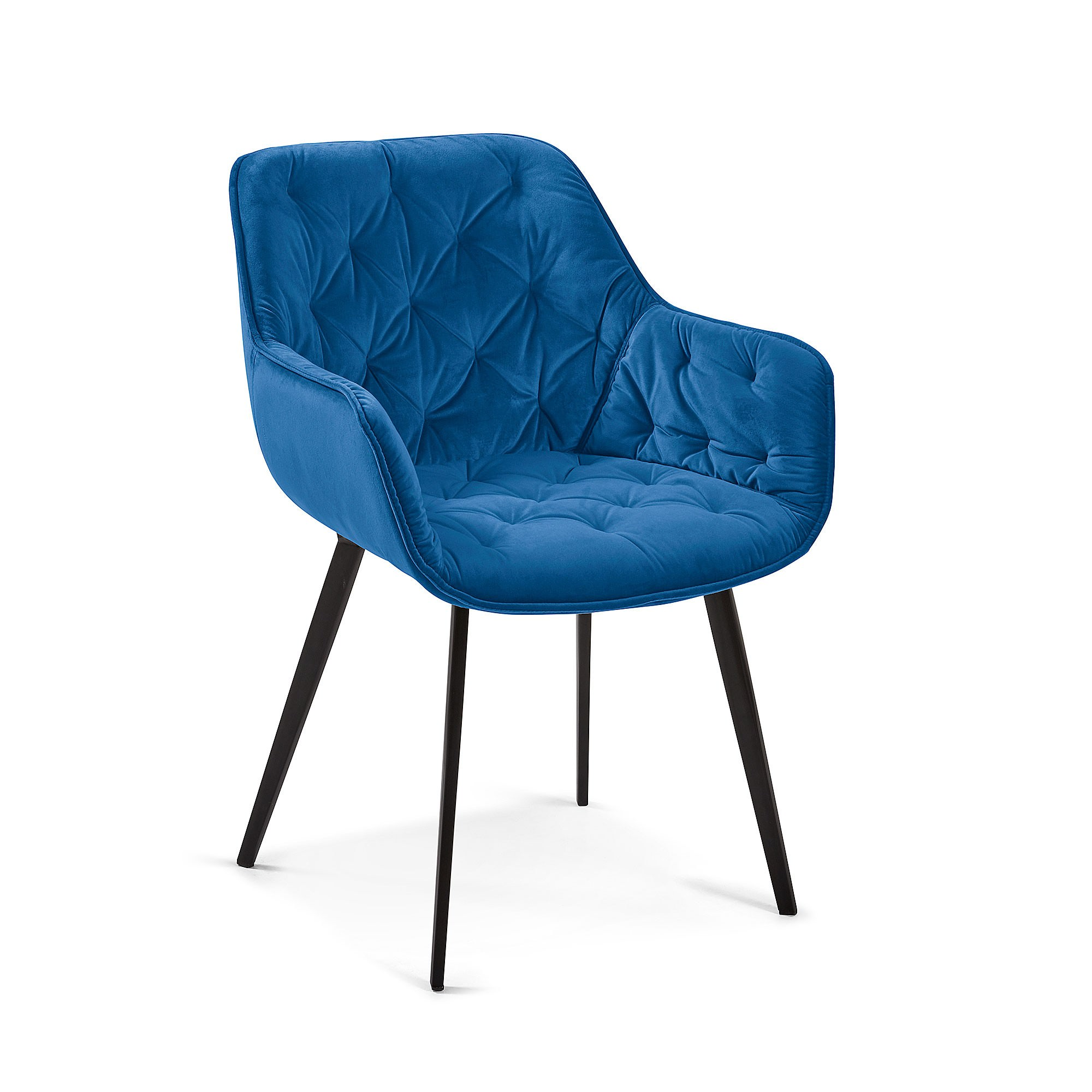 Rollins Velvet Fabric Dining Armchair, Blue