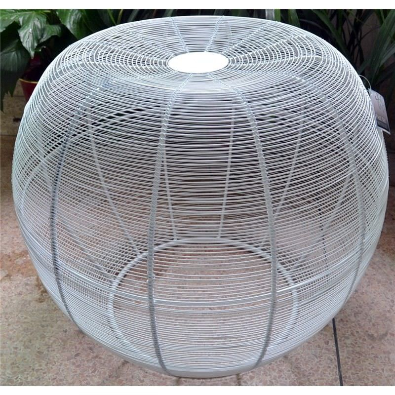 Coil Iron Wired Round Ottoman,  Large, White