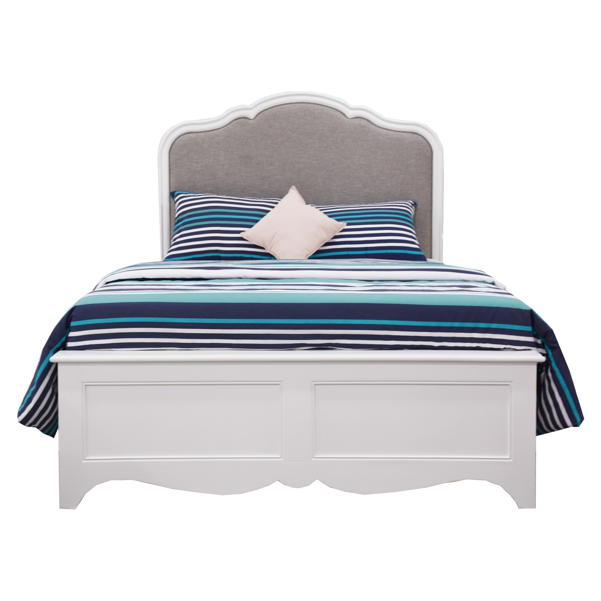 Brittany Acacia Timber & Fabric Bed, Queen