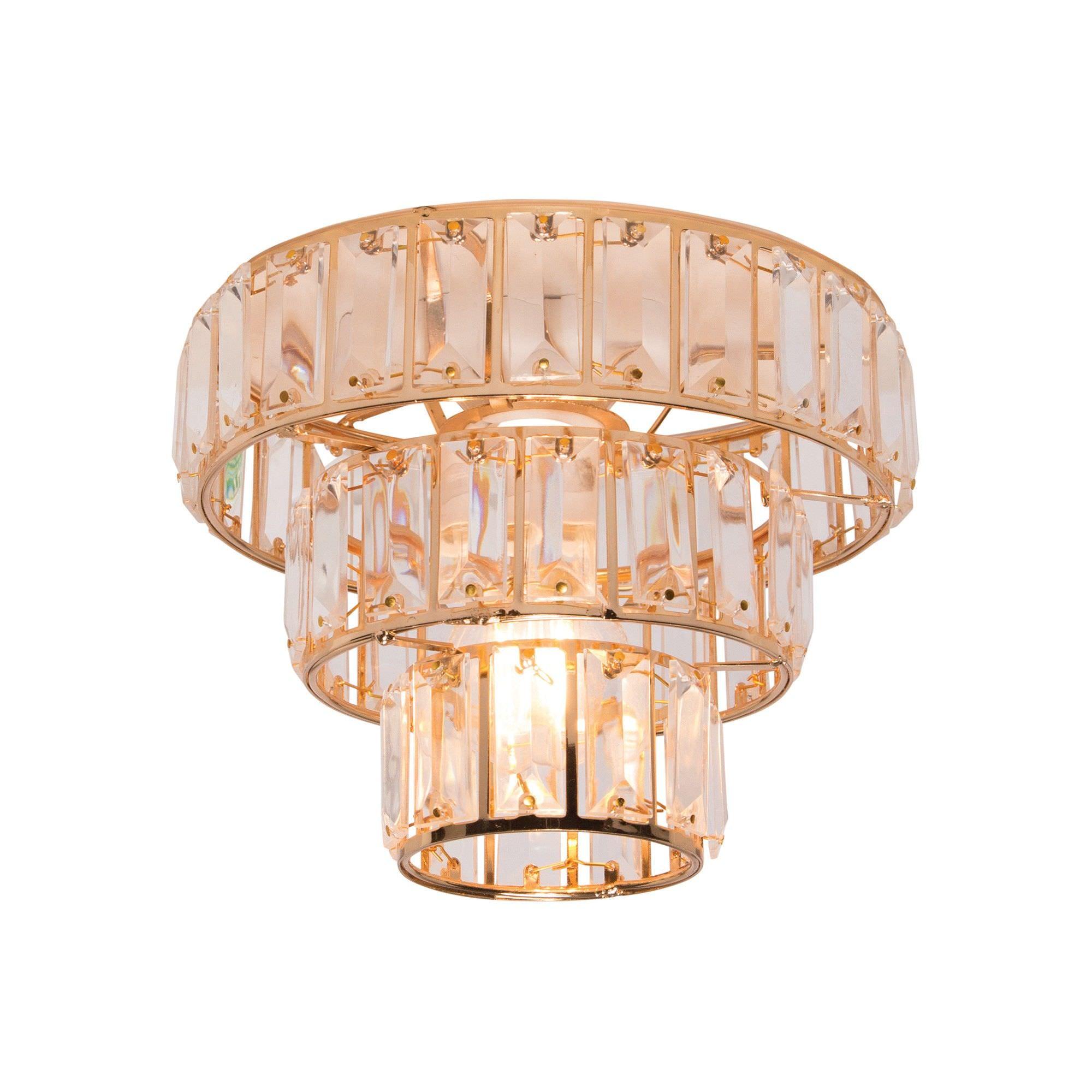 Plaza DIY Glass Batten Fix Ceiling Light Shade, Brass