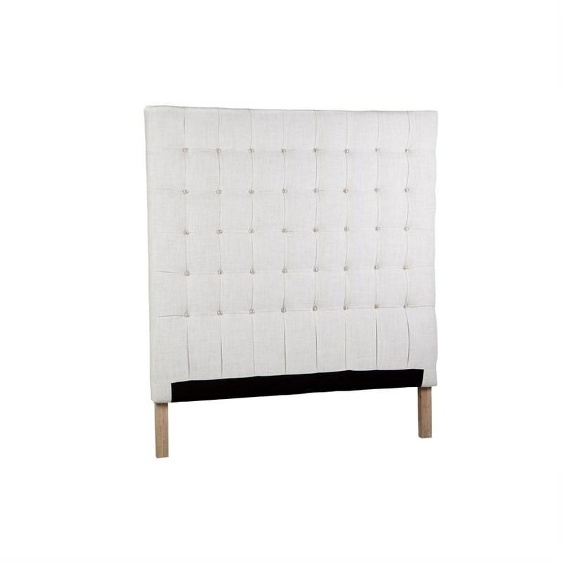 Marilyn Headboard Queen- Winter White Linen