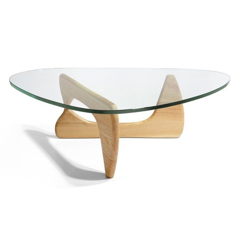 Noguchi coffee table replica - Natural Oak 20mm thick glass and 40mm thick base