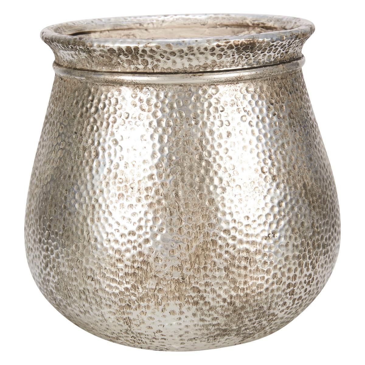 Merine Ceramic Planter, Large, Antique Silver
