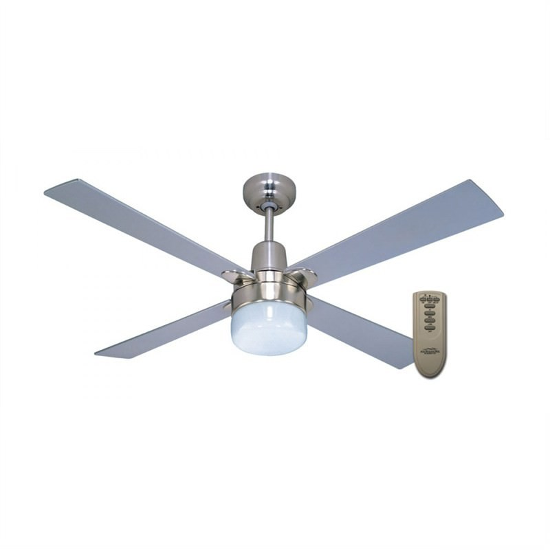 Martec Four Seasons Alpha 4 Plywood Blade Ceiling Fan (CFS124CR) with Clipper Light and Remote in Silver