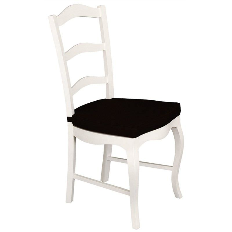 Mervent Solid Mahogany Timber Dining Chair with Cushion - White