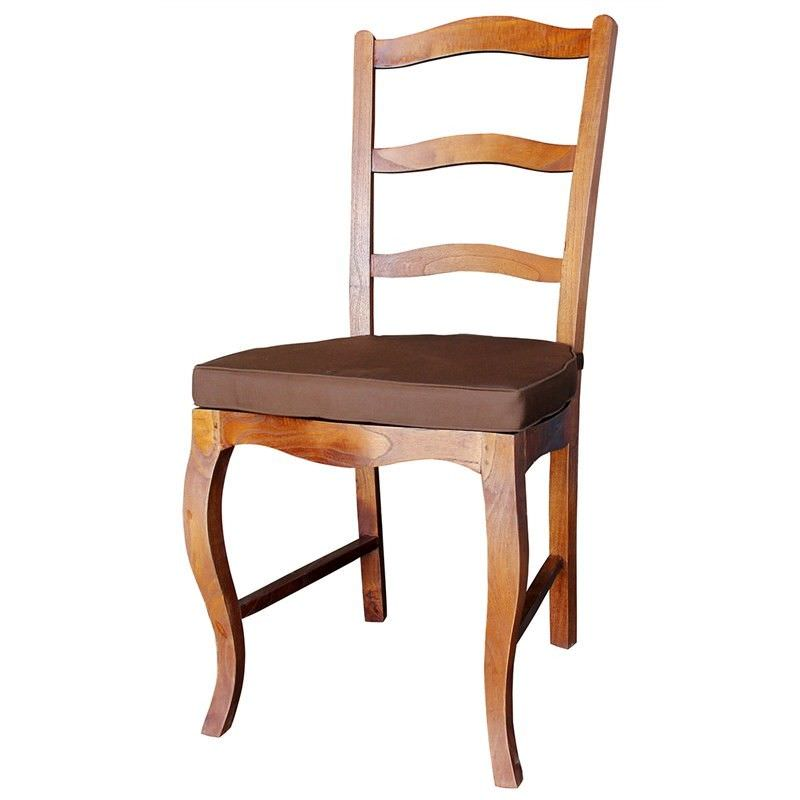 Mervent Solid White Cedar Timber Dining Chair with Cushion - Light Pecan Stain