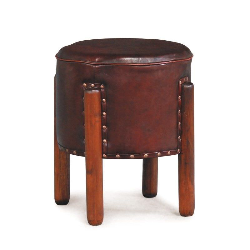Waco Genuine Leather UFO Stool - Mahogany