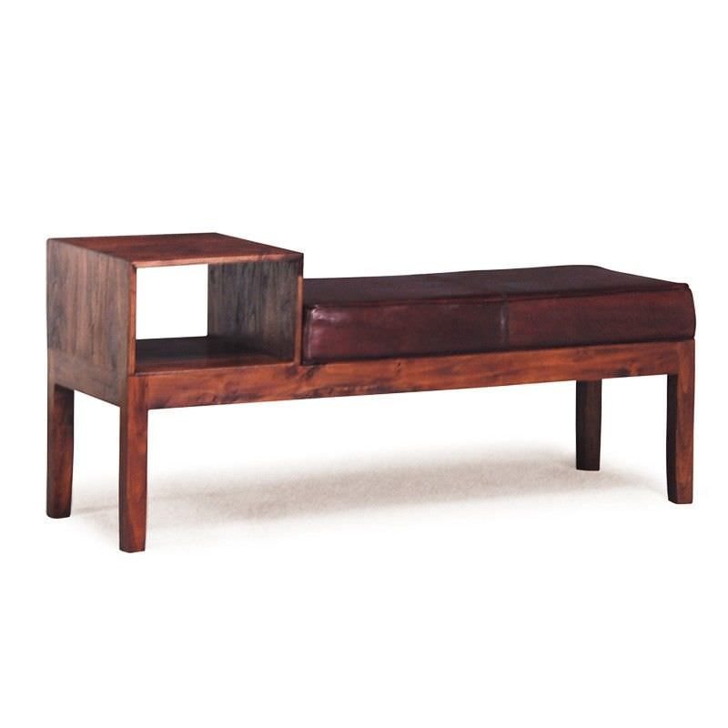 Gracia Solid Mahogany and Genuine Cow Hide Leather Bench with Phone Table in Mahogany