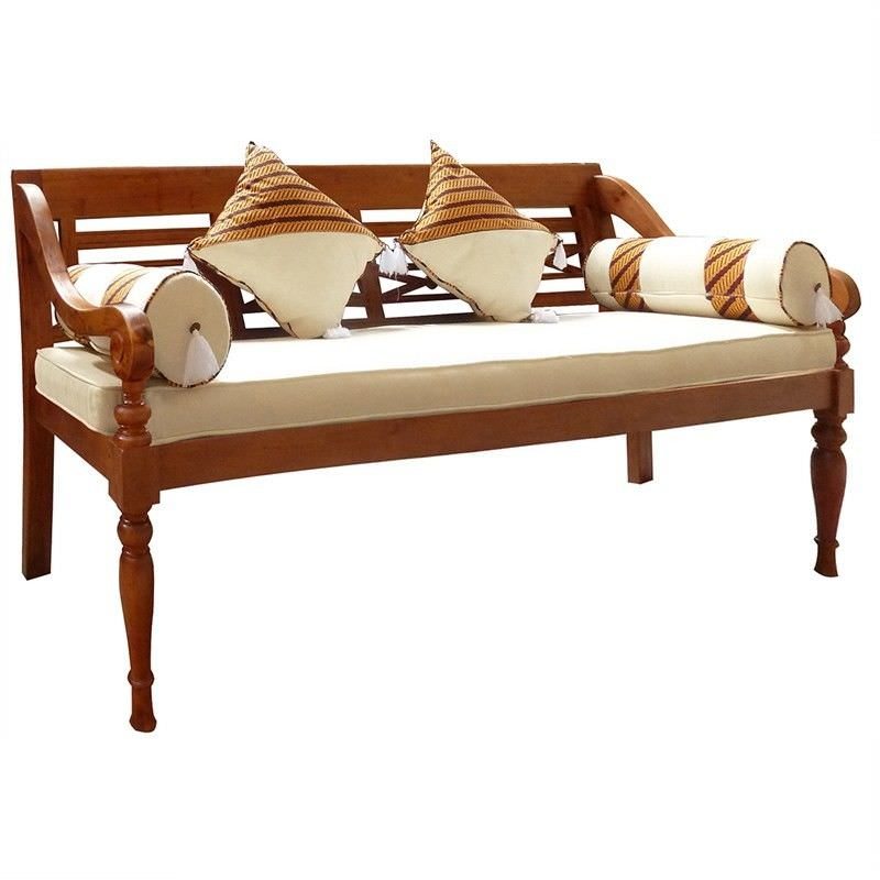 Daydream Solid Mahogany Timber 200cm Bench with Cushions and Pillows - Light Pecan